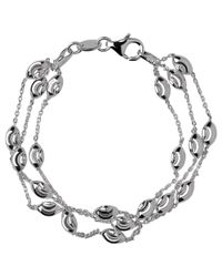 Links of London | Metallic Sterling Silver Beaded Three Row Bracelet | Lyst