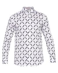 ebb03d814c386c Ted Baker Longbox Geometric Diamond Print Shirt in White for Men - Lyst