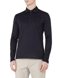 Reiss | Blue Santi Pique Cotton Long Sleeve Polo Shirt for Men | Lyst