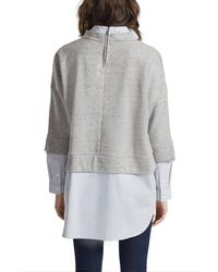 French Connection - Gray Dune Mix Oversized Sweatshirt - Lyst