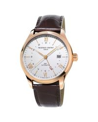 Frederique Constant | Brown Fc-350v5b4 Men's Classics Index Gmt Date Leather Strap Watch for Men | Lyst