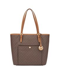 MICHAEL Michael Kors | Brown Jet Set Item Leather Large Snap Pocket Tote Bag | Lyst