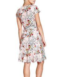 Yumi' Pink Floral Wrap Dress