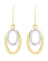 Ib&b Metallic 9ct Gold 2 Tone Double Oval Drop Earrings