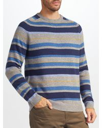 John Lewis | Gray Stripe Knit Jumper for Men | Lyst