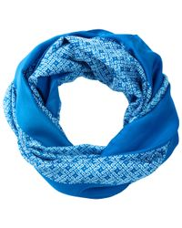 Pure Collection - Blue Eleanor Geo Border Print Snood - Lyst