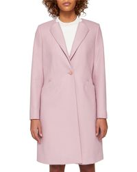 Ted Baker - Pink Collarless Wool Coat - Lyst