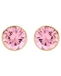 Ib&b   Pink 9ct Gold Round Cubic Zirconia Stud Earrings   Lyst
