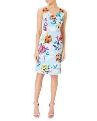Adrianna Papell - Blue Posy Printed Jacquard Sheath Dress - Lyst