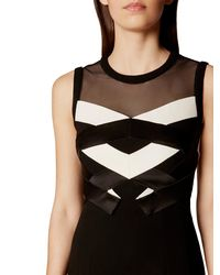 Karen Millen - Black Two Tone Origami Dress - Lyst