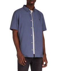 AllSaints - Blue Huntingdon Short Sleeve Shirt for Men - Lyst