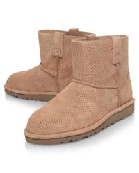 Ugg | Natural Classic Mini Perf Ankle Boots | Lyst