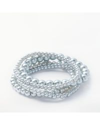 John Lewis - Blue Twist Faux Pearl Stretch Bracelet - Lyst