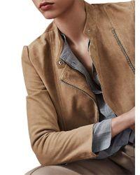 Reiss - Natural Ellen Suede Biker Jacket - Lyst