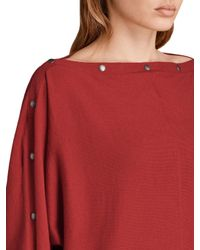 AllSaints - Red Elle Snap-detail Sweater - Lyst