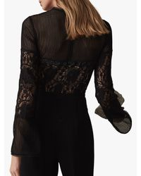 Reiss - Black Marion Lace Embellished Jumpsuit - Lyst