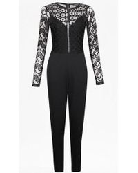 French Connection - Black Hannah Beau Long Sleeved Jumpsuit - Lyst