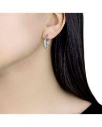 Ib&b - Metallic 18ct Gold Two Colour Double Tube Creole Earrings - Lyst