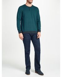 John Lewis - Green Cotton Cashmere Stripe Henley Jumper for Men - Lyst