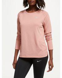 95529093f Nike Breathe Tailwind Long Sleeve Running Top in Pink - Lyst