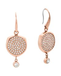 Michael Kors - Pink Post Jacket Studded Circular Drop Earrings - Lyst