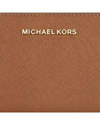 Michael Kors - Brown Michael Jet Set Travel Leather Multi-function Purse - Lyst