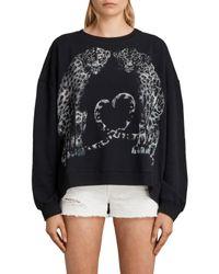 AllSaints - Black Benin Lo Sweatshirt - Lyst