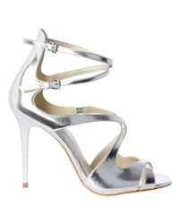 Karen Millen - Metallic Strappy Stiletto Heeled Sandals - Lyst