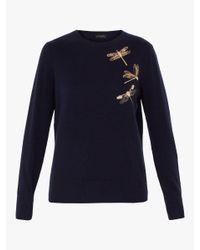Ted Baker - Blue Embellished Dragonfly Sweater - Lyst