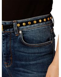 Karen Millen - Blue Suede Studded Skinny Belt - Lyst
