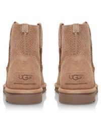 Ugg - Natural Classic Mini Perf Ankle Boots - Lyst