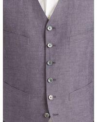 John Varvatos - Blue Linen Vest for Men - Lyst