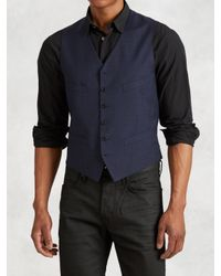 John Varvatos - Blue Wool Tailored Vest for Men - Lyst