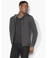 John Varvatos | Black Marled Knit Zipped Hoodie for Men | Lyst
