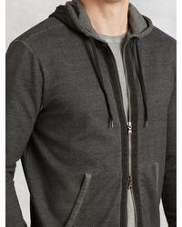 John Varvatos - Gray Zip Hoodie With Herringbone Detail for Men - Lyst