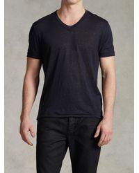 John Varvatos | Blue Jersey Trim Short Sleeve V-neck for Men | Lyst