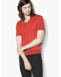 John Varvatos | Red Linen V-neck for Men | Lyst