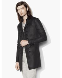 John Varvatos | Black Double-breasted Military Coat for Men | Lyst