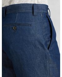 John Varvatos - Blue Cotton Linen Short for Men - Lyst