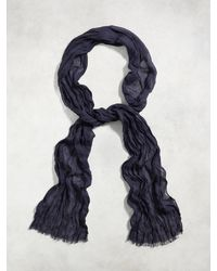 John Varvatos | Black Skinny Gauze Crinkle Scarf for Men | Lyst
