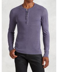 John Varvatos   Purple Linen Henley for Men   Lyst