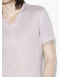 John Varvatos - Purple V-neck Tee With Jersey Details for Men - Lyst
