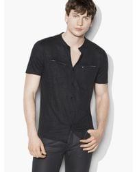 John Varvatos   Black Linen Button Front Shirt for Men   Lyst