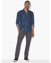 Lyst john varvatos denim snap front western shirt in for Mens shirts with snaps instead of buttons
