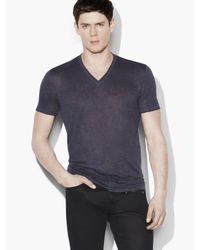 John Varvatos - Blue Linen V-neck for Men - Lyst