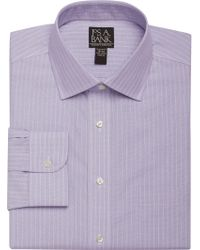 Jos. A. Bank - Purple Traveler Collection Slim Fit Spread Collar Fine Stripe Dress Shirt for Men - Lyst