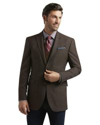 Jos. A. Bank Brown 1905 Collection Tailored Fit Mini Check Sportcoat Clearance for men