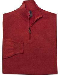 Jos. A. Bank - Red Signature Pima Cotton Quarter-zip Sweater Big And Tall for Men - Lyst