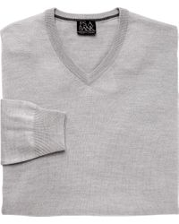 Jos. A. Bank | Gray Traveler Merino V Neck Sweater Big And Tall for Men | Lyst