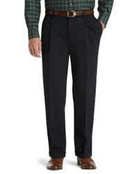 Jos. A. Bank | Black Traveler Collection Traditional Fit Pleat Front Comfort Waist Twill Pants - Big & Tall for Men | Lyst